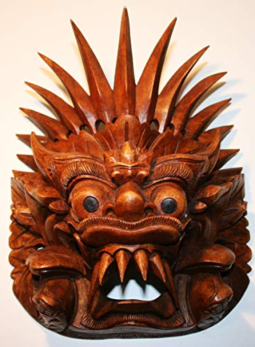 Barong Maske L 22 cm x H 11 cm x B 20 cm Suar Wood (Mahagonie Art) 700 Gramm schwer, Handarbeit jedes Stück EIN Unikat, Braun