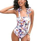 JHDESSLY Traje de baño de una pieza para mujer con control de barriga, traje de baño asimétrico fruncido traje de baño Tankini Set