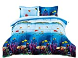 HIG 3D Comforter Set Queen -3 Piece 3D Wildlife Fishes and Corals Printed...