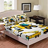 Nursery Excavator Bedding Set Twin Size, Tractor Machinery Trucks Fitted Sheet, Construction Vehicle Bed Set for Kids Boyd Girls Children, Bulldozer Crane Cartoon Bed Cover Lightweight Bedclothes