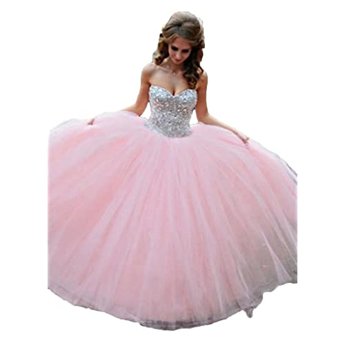 50ae2daa00a8 Lovelybride Crystal Beaded Pink Quinceanera Dress 2015 Party Debutante Gowns