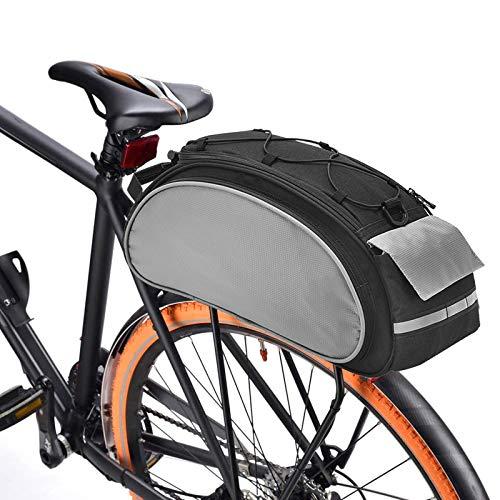 BAIGIO Borsa Bici Posteriore Cremagliera Multifunzionale Pacchetto Zaino Borsa da Bicicletta MTB Borsa Portapacchi Bici con Tracolla & Striscia Riflettente,13L (Nero)