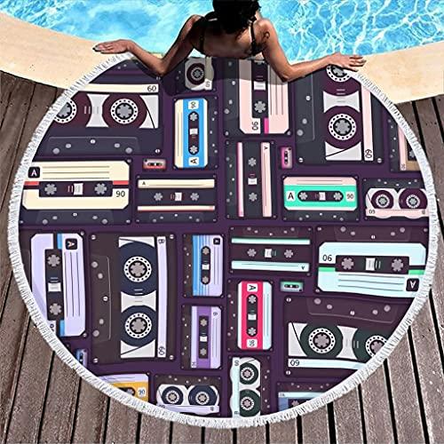 Toalla de playa redonda de microfibra, absorbente, toalla de playa, toalla de playa, manta de picnic, esterilla de yoga, toalla de pared para dos personas, color blanco, 150 cm
