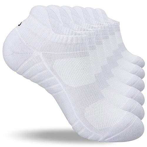 coskefy Running Socks Cushioned Ankle Socks Anti Blister Cotton Sports Trainer Socks Low Cut Athletic Socks for Men Women Ladies (6 Pairs)