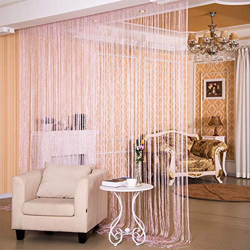 Desirable Life Decorative Door String Curtains Wall Panel Tassels Blinds Room Divider for Wedding Party Restaurant Home (Pink, 39.4' x78.7')