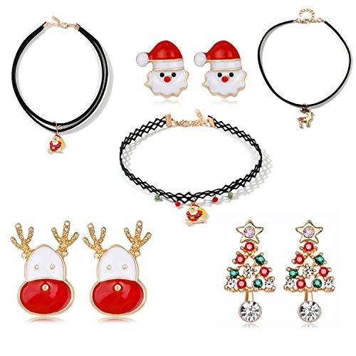 Gkmamrg Kerstcadeau voor vrouwen meisjes, 3 paar kerstoorstekers 3 kerstmis dames choker halsband verstelbare kerstman oorbellen