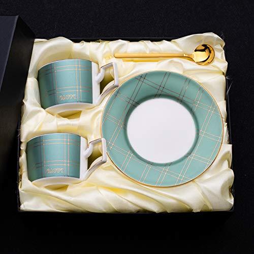 HRDZ Taza y platillo de café de Alta Gama creativos pequeña Taza de agitación de cerámica de Lujo pequeña Taza de Marca de té de la Tarde pequeña