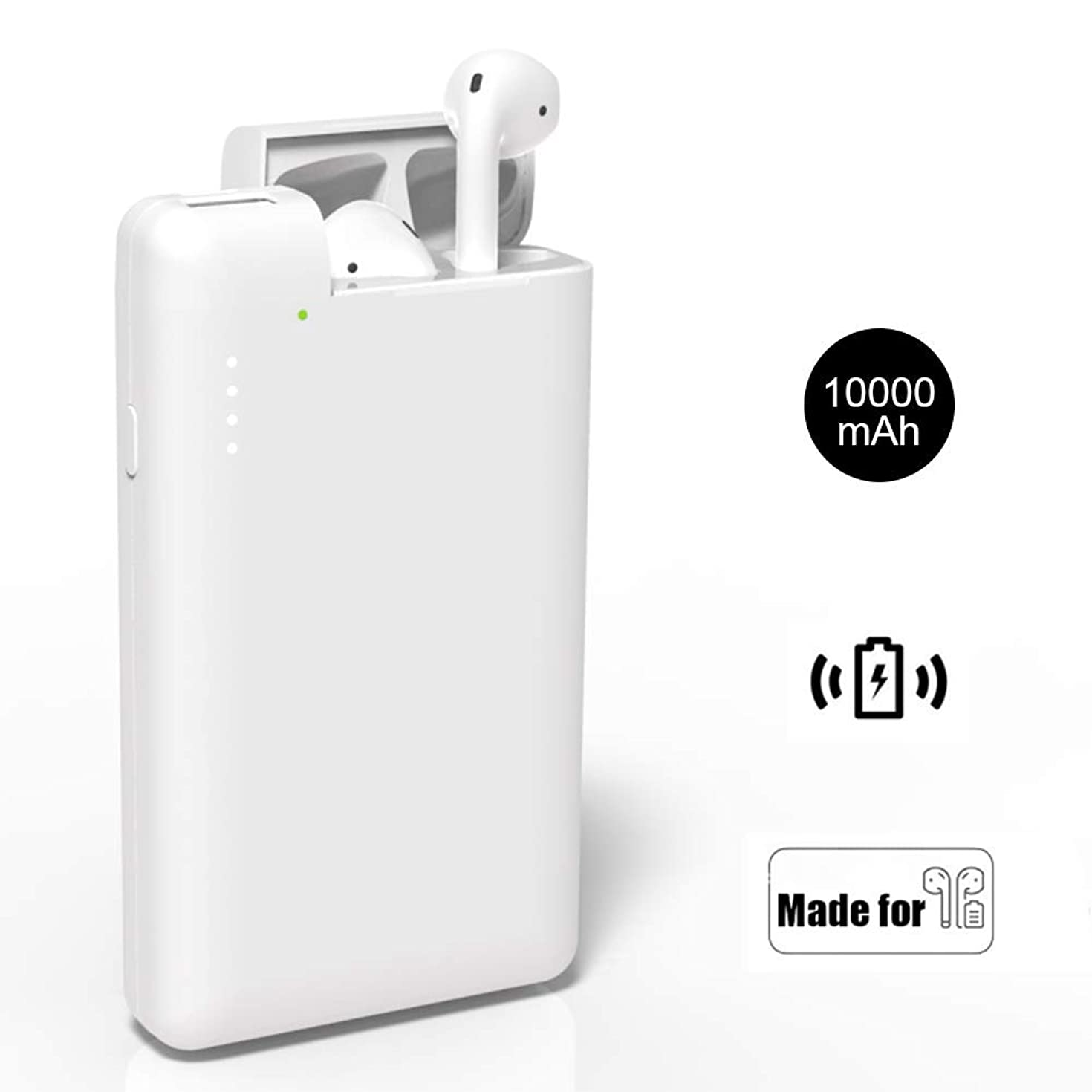 NeotrixQI AirPods Charging Case Replacement Portable Charger, 10000mAh Power Bank Multi-Function External Battery Pack Compatible with Apple AirPods iPhone Xs/XR/X/8 Plus/8 Samsung Galaxy S10/9/S8