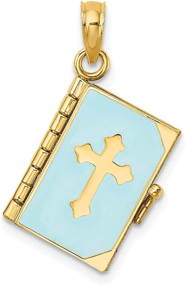 Solid 14k Yellow Gold 3-D Blue Enamel Bible Book Moveable Pages Charm Pendant - 25mm x 18mm