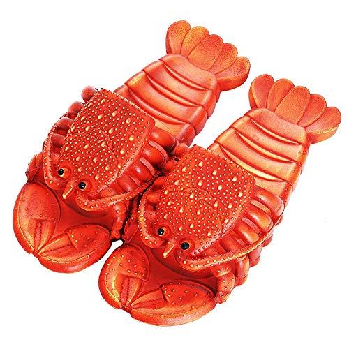 [N\A] ロブスタースリッパ 男性と女性のための楽しい漫画スリッパ 面白い ロブスタースリッパ 魚のスリッパ 軽量 通気性 柔らかい 夏のビーチ フリップ・フロップ コスプレパーティースリッパ 室内履き 外履き ベランダ サンダル 男女兼用 (赤, me