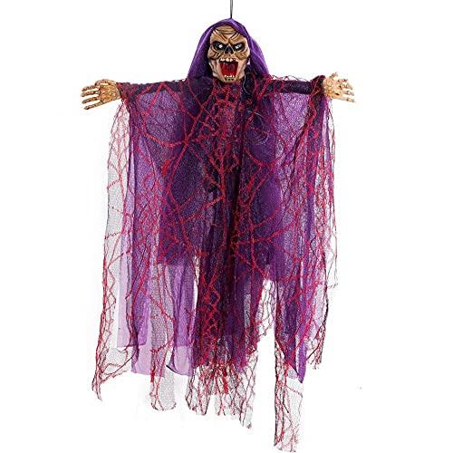 CHICMALL Bruja de Halloween Colgante Decoración de la Casa Embrujada Esqueleto Eléctrico Control de Voz Colgante Fantasma Tricky Horror Toy Thriller Props