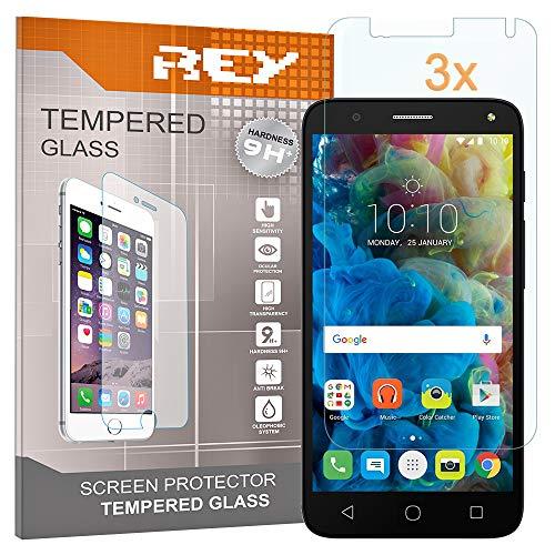 REY 3X Protector de Pantalla para ALCATEL One Touch Pop 4, Cristal Vidrio Templado Premium