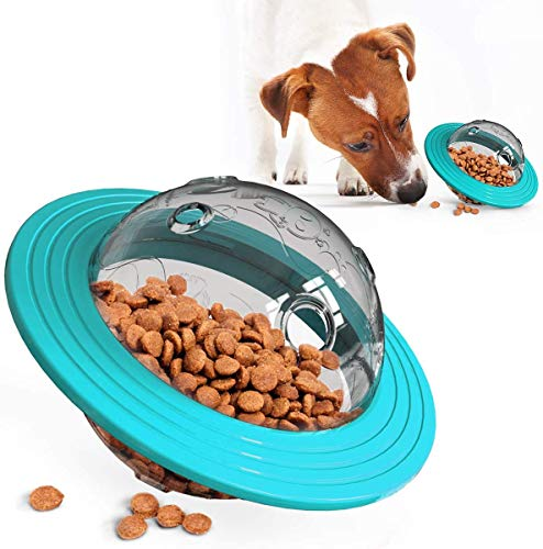 DYXT IQ Treat Ball-Ajustable Dog Treat Ball, alimentador Lenta, Perro de Juguete Rompecabezas, Treat dispensación Juguete y de Perro de Juguete Interactivo,Azul