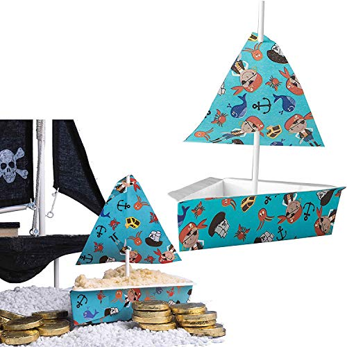 27-teiliges Back-Set * Piratenschiff * als Deko für Kindergeburtstag und Piraten-Mottoparty | mit Tortenstück-Backform + Segel + Cake Pop Sticks | Dekor Torte Backformen
