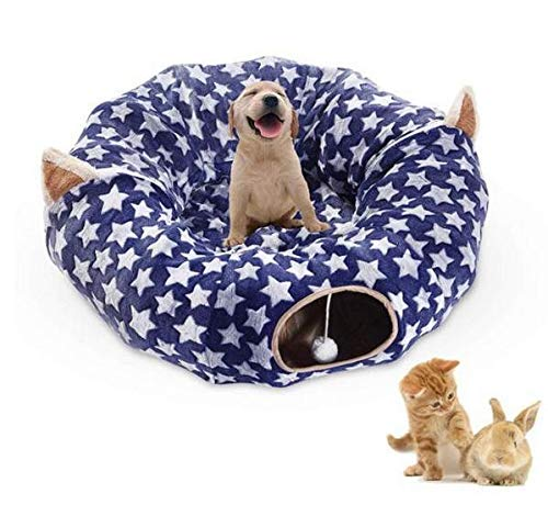 LIKESIDE Folding Cat Tunnel Velvet Roll Floor Round Tube Channel, Kitten Pop Up Bed, Indoor Cat House, Pet Toys with Zipper (Blue)