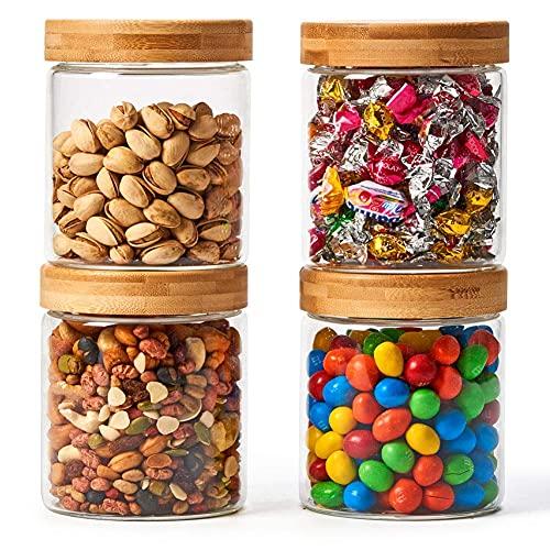 EZOWare 4er Set 600ml Luftdicht Glas Vorratsdosen, Vorratsgläser Lebensmittel Lagerung Behälter mit Bambus Aluminium Deckel for für Küche, Bad