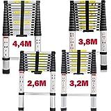 Teleskopleiter 2,6M/3,2M/3,8M/4,4M Aluleiter Klappleiter Mehrzweckleiter Rutschfester Ausziehleiter...