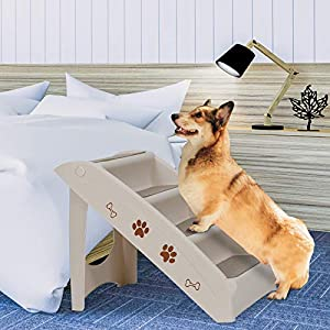 Nova Microdermabrasion Pet Dog Stairs Steps for high Bed for Small Dogs Washable Carpet Foldable Plastic
