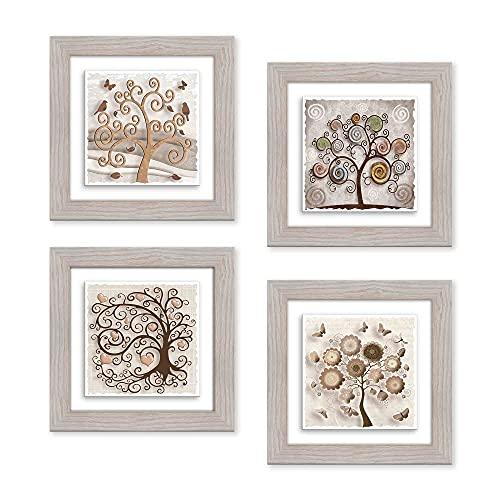Lupia Set 4 Quadri Dipinti su Ceramica Cornice Shabby Modern Beige Tree 29x29 cm