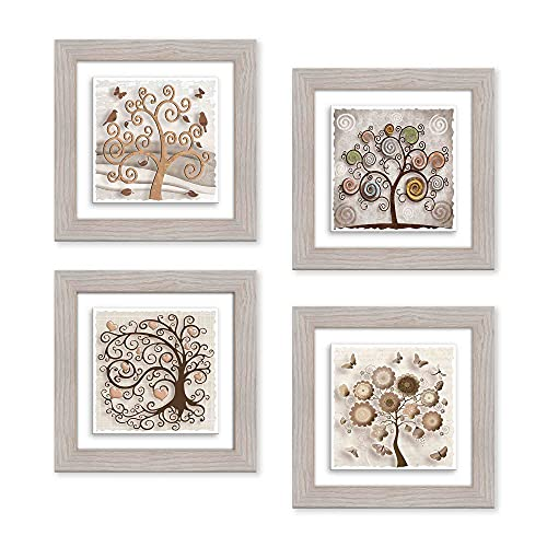 Lupia Juego de 4 cuadros pintados sobre cerámica marco Shabby Modern Beige Tree 29 x 29 cm