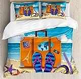 Juego de funda nórdica Flip Flop, ilustración de maleta de viaje con pegatinas de colores y máscara de snorkel, juego de cama decorativo de 3 piezas con 2 fundas de almohada, multicolor TWIN / TWIN XL