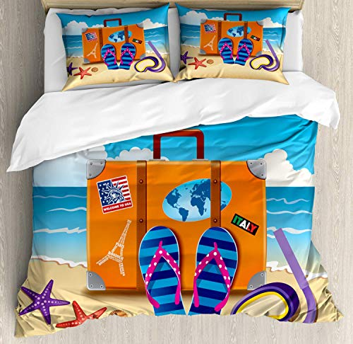 459 Flip Flop Duvet Cover Bedding Set, Illustration of Travel Suitcase Colorful Stickers on and Snorkeling, Decorative 3 Piece Bedding Set with 2 Pillow Shams, King Size, Orange Aqua