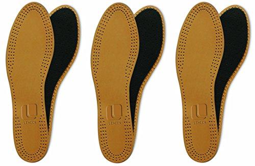 Lenzen 3 Paar Premium Echtleder Einlegesohlen I Leder Einlegesohle mit Aktivkohle I Atmungsaktive Schuheinlagen – sehr dünn und weich (43)