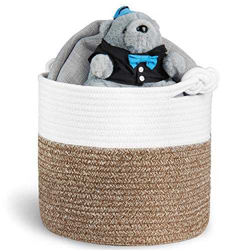"Polarduck Cotton Rope Basket 13"" x 12"" x 11"" Baby Laundry Basket Laundry Hamper Woven Blanket Basket Nursery Bin Organizer Toys Storage Basket with Lucky Knots Handle Natural White amp Jute"