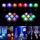 Xiangmall 12 Piezas Velas de Luz LED Mini Impermeable Funciona con Pilas Luces Sumergible para Florero Piscina Bodas Cumpleaños Navidad Fiestas Decoración (Vistoso)