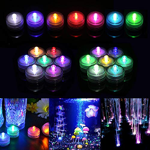 Xiangmall 12 Pcs LED Tea Lights Candle Waterproof Submersible Lights Battery Flash Paper Lanterns Light for Vase Pond Wedding Birthday Halloween Christmas Party Decorations (Colorful)