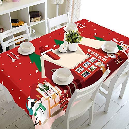 XXDD Mantel Redondo decoración Rojo año Nuevo Fuegos Artificiales 3D patrón Rectangular Boda Mantel de algodón hogar A6 150x210cm