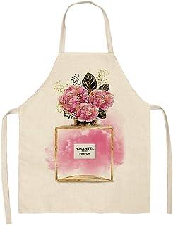 ZHANGXIANG Delantal Mujer Cocina Lápiz Labial Perfume Serie Delantal De Algodón Y Lino para Padres E Hijos-Slw-000201_47 *...
