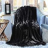 Luxusdecke aus Nerz-Kunstpelz, weiche & warme Tagesdecke für Doppel-, King- & Single-Size Betten, von Evelyn Living®, Schwarz , Doppelbett