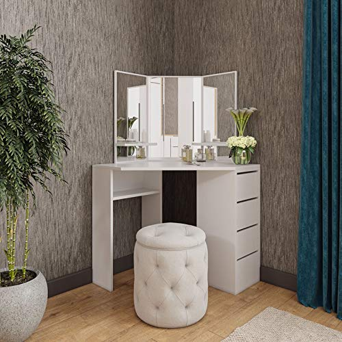 Victory Corner Makeup Table, Vanity Makeup Table with Mirror, Dressing Table with 4 Drawers