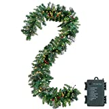 9 Foot Prelit Christmas Garland with 50 Warm White Lights & red berries, Artificial Garland for Christmas Holiday Season Decorations