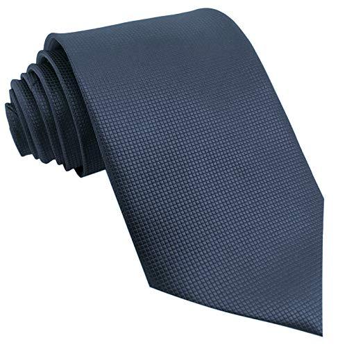 GASSANI Krawatte 10cm Breite Dunkel-Blau Karo Kariert | Blaue Herrenkrawatte zum Sakko Anzug Seide-Optik | Schlips Binder einfarbig