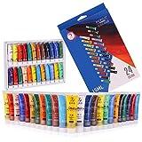 Acrylfarbe 12/24 Set für Papier, Leinwand, Holz, Keramik, Stoff und Bastelarbeiten Ungiftig und lebendige Farben. Reichhaltige Pigmente mit dauerhafter Qualität, 24 Farben