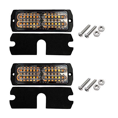 D-TECH 12/24V 2 Stk LED Blitzlichter Warnlicht Stroboskoplicht Blinklichter Frontblitzer Rundumleuchte Amber Notlicht-Leuchtfeuer für LKWs Traktoren Gabelstapler