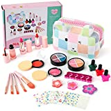 Tigerhu 27 pcs Kids Makeup Kit for Girls Real Kids Cosmetics Make Up Set with Cute Cosmetic Bag,Washable Play Makeup for Little Girls