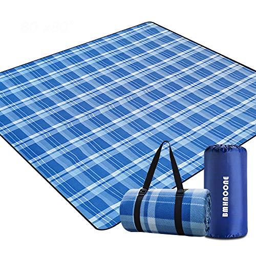 BMHNOONE Outdoor-Picknickdecke, extra große Picknickdecke, 200,7 x 150,9 cm, mit Rucksack für Familie, faltbar, wasserdicht, Picknickdecke für Camping, Wandern, Reisen