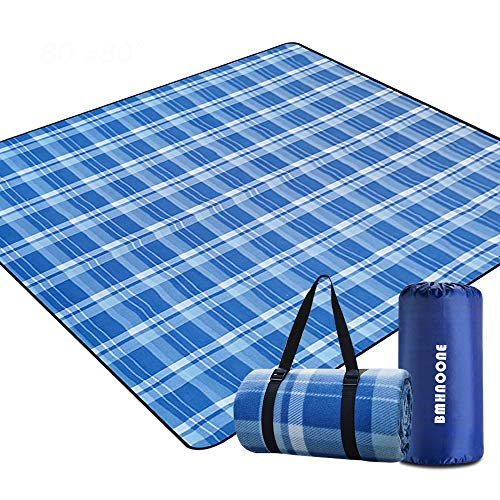 """BNHNOONE Outdoor Picnic Blanket, Extra Large Picnic Blanket 80""""x80"""" with Backpack for Family, Portable Waterproof Picnic Outdoor Blanket Picnic Mat for Camping Hiking Travelling"""
