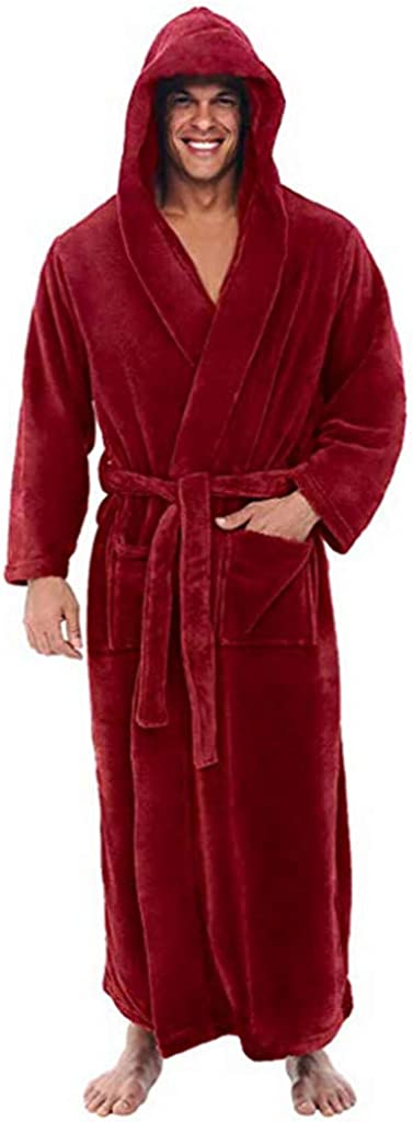 WOCACHI Mens Long Arlington Mall Plush Bathrobe Robe Sleepwear Ranking TOP5 Nightwear Pajama