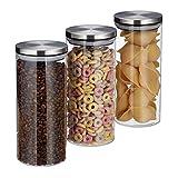 Relaxdays 10027999 Vorratsglas 3er Set, 1,3 L, luftdicht, Edelstahl Deckel, für Pasta, Müsli &...