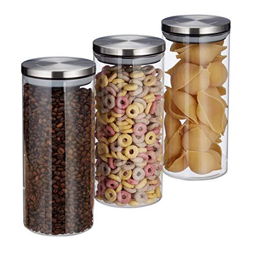 Relaxdays Vorratsglas 3er Set, 1,3 L, luftdicht, Edelstahl Deckel, für Pasta, Müsli & Reis, Küchenbehälter, transparent