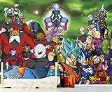 Fotomural Vinilo de Pared Dragon Ball Super Conjunto de Personajes Producto Oficial | 200x150 cm | Fotomural para Paredes | Producto Original | Decoración Hogar | DBS