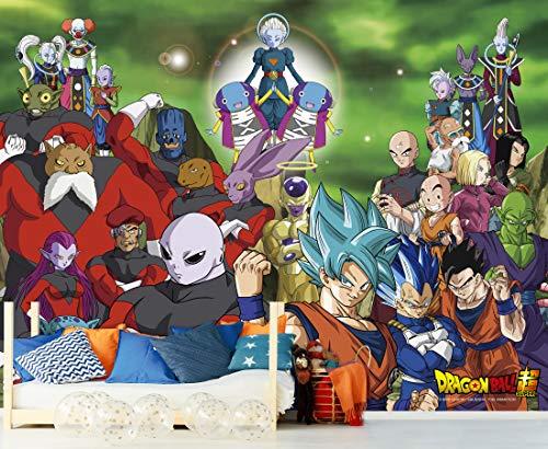 Fotomural Vinilo de Pared Dragon Ball Super Conjunto de Personajes Producto Oficial | 150x100 cm | Fotomural para Paredes | Producto Original | Decoración Hogar | DBS