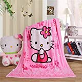 Cartoon Blanket Hello Kitty Printing Throw Sherpa Cover Soft & Warm Flannel Cozy Plus Size for Girls Kids Baby Toddler Infant (Pink)