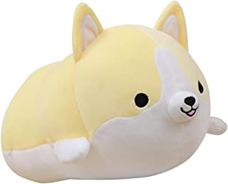 Levenkeness Corgi Dog Plush Pillow, Soft Cute Shiba Inu Akita Stuffed Animals Toy Gifts (yellow, 11.8 in)
