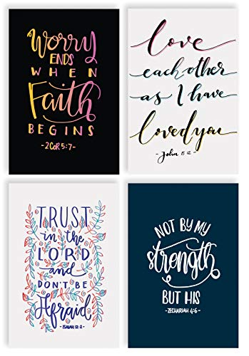 Religious Bible Verse Inspirational Cards, 100-Pack, 4 x 6 inch, 4 Cover Designs with Bible Quotes, Blank Inside, by Better Office Products, Encouragement Cards, with Envelopes, 100 Pack
