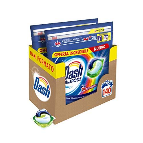 Dash All in 1 Pods Detersivo Lavatrice in Capsule, 140 Lavaggi (2 x 70), Salva Colore, Maxi Formato, Pulizia Profonda, Per Tutti I Capi